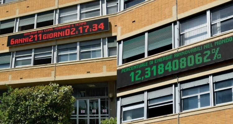 L'Orologio del Clima installato nella sede del Ministero della Transizione Ecologica a Roma
